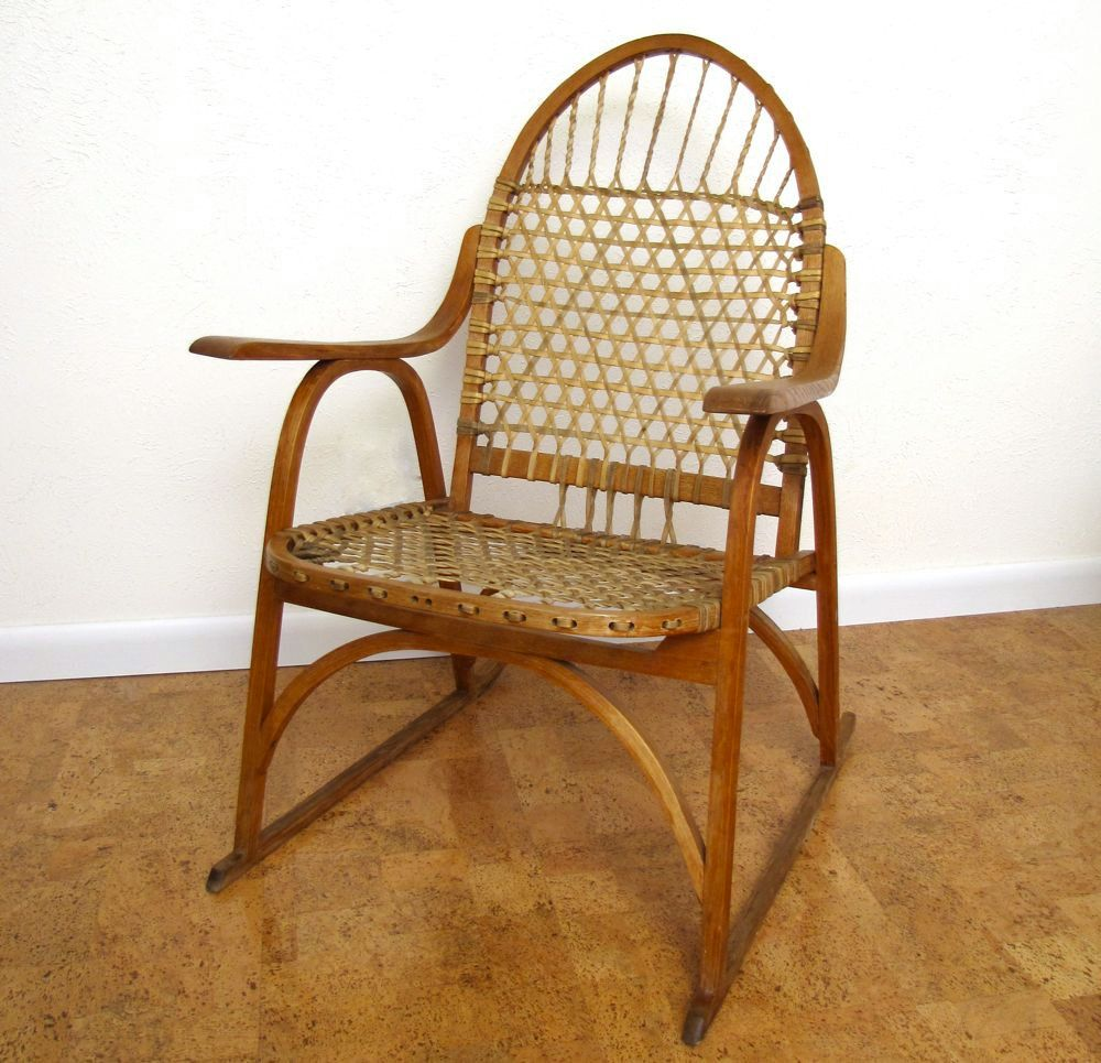 Exceptional Vintage Mid Century Chair Primitive Adirondack Snow Shoe Lodge Chair  Moonrise Kingdom