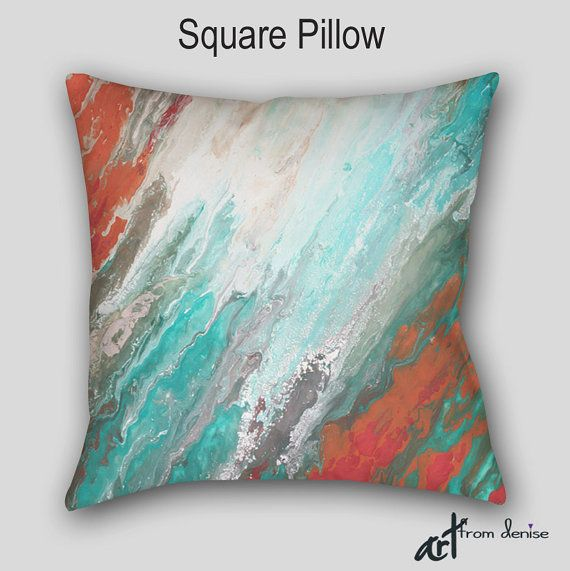 Coral and teal throw pillows aqua gray turquoise Large | Etsy