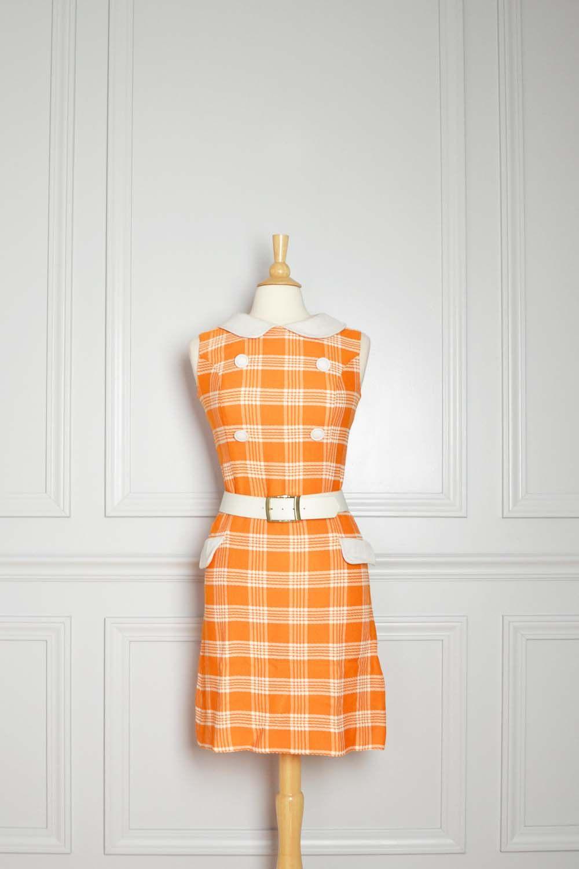 f466ec08888 Dress Shift Mod Plaid 60s Orange Mad Men Go Go Peter Pan Collar ...