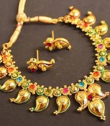 Buy BEAUTIFUL GOLD PLATED MULTI COLOR MANGO NECKLACE southindian