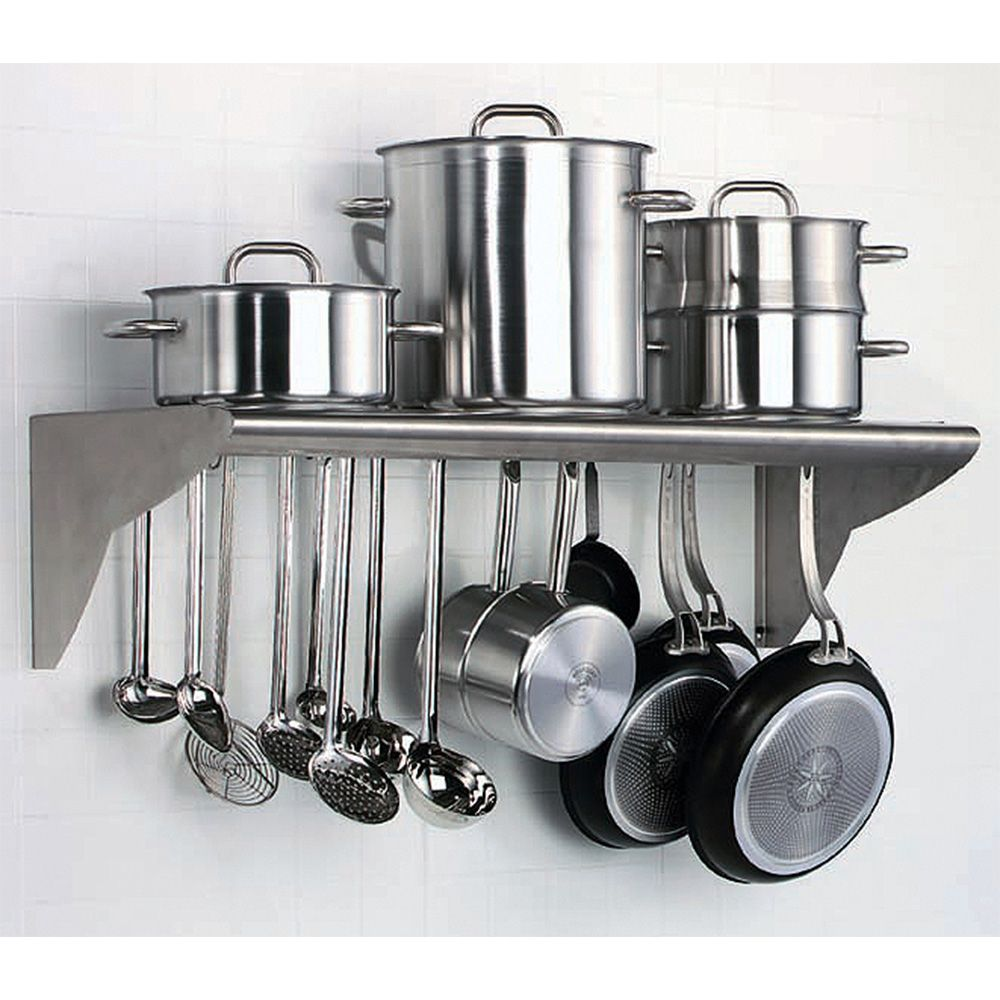 Stainless Steel Utensil And Pot Hanger Wall Mounted Shelf Wall