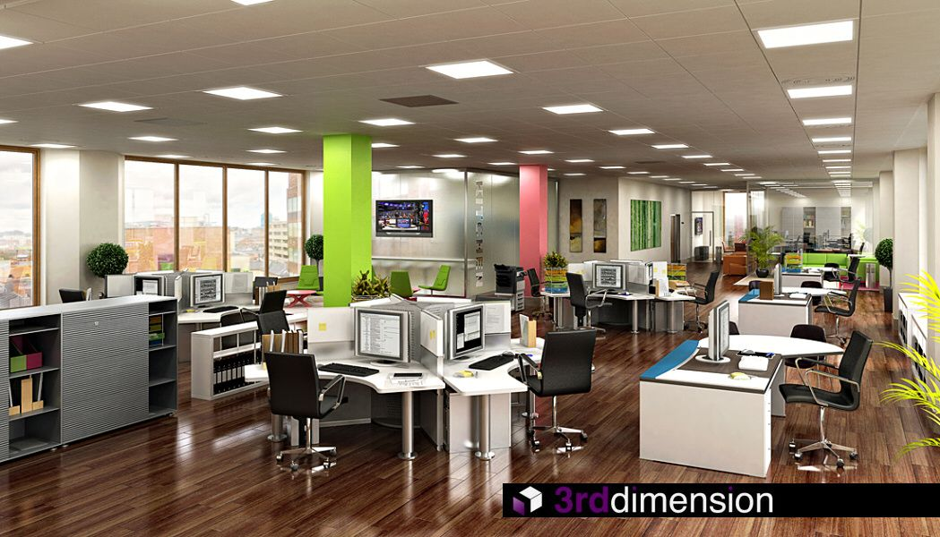 Amazing colors nice rich wood flooring 4 person work for Open space office