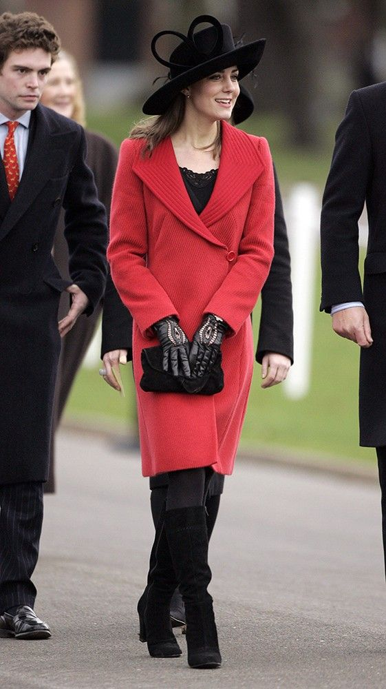 Kate wore a red Armani coat to the Sovereign's Parade at the Royal Military Academy. via StyleList