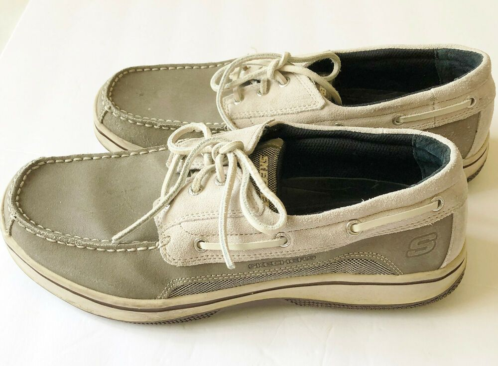 Skechers Mens Relaxed Fit Gray Leather Boat Shoes Lace Up 9 5