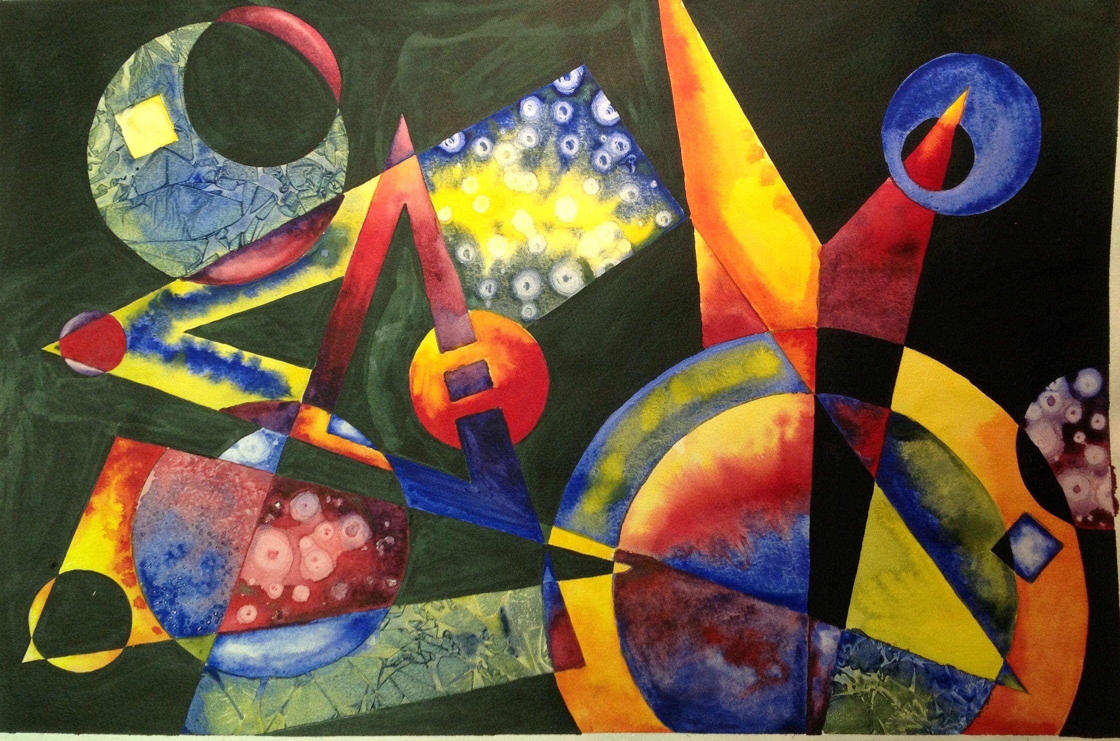 Non Objective Color Wheel Watercolor Lesson Preschool