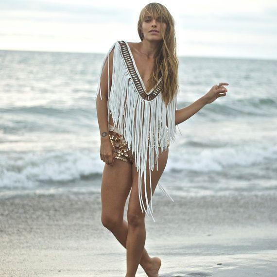 9a3cf0d241d9 INKA Macrame Fringe Top, off white/ Burning man clothing/ Women's ...