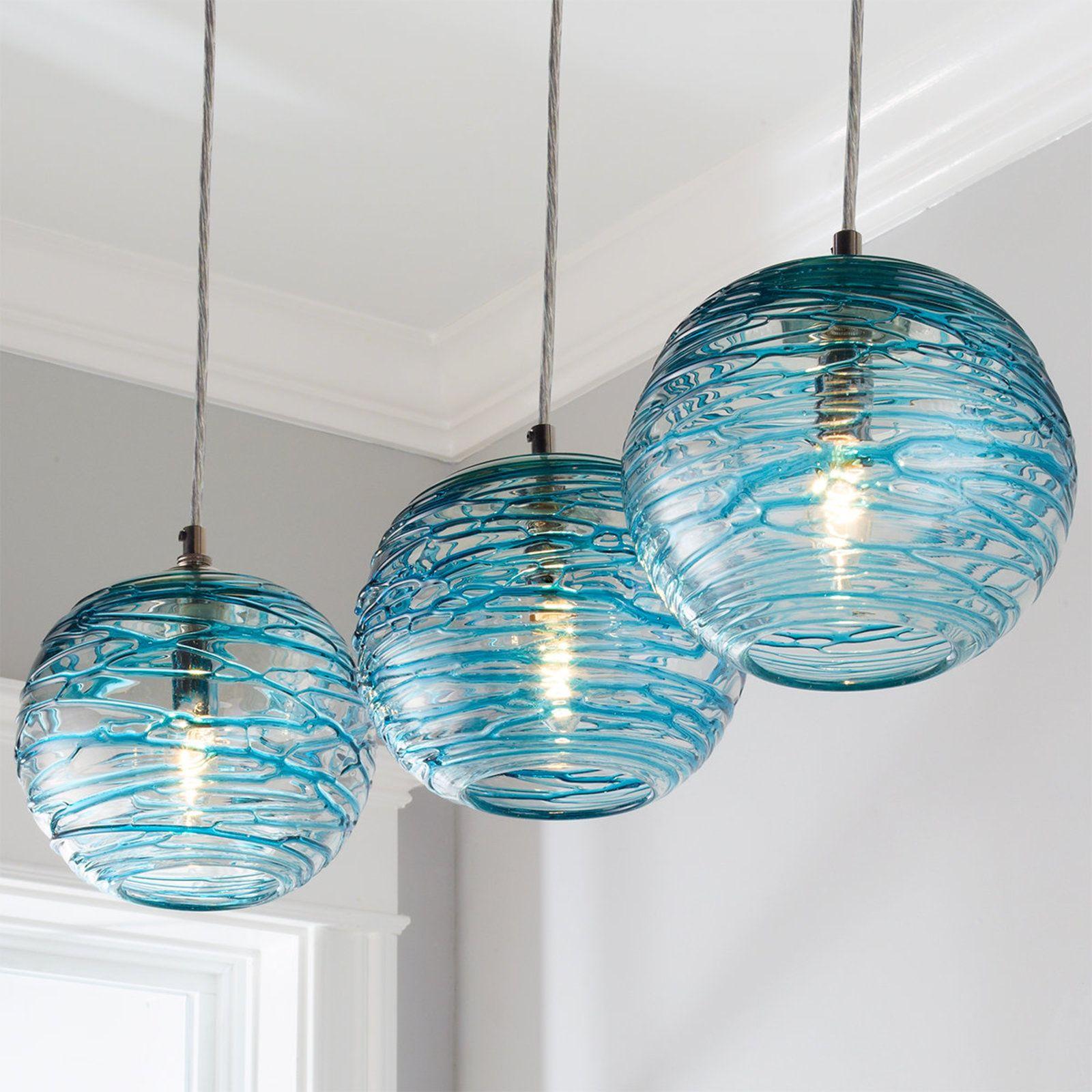 Swirling Glass Globe Mini Pendant Light Aqua Coastal Pendant