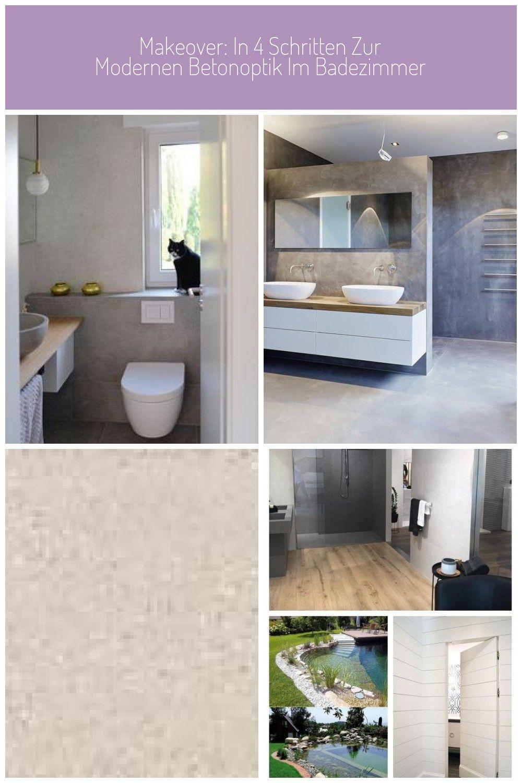 Makeover In 4 Schritten Zur Modernen Betonoptik Im Badezimmer In 2020 Betonoptik Badezimmer Badezimmer Design