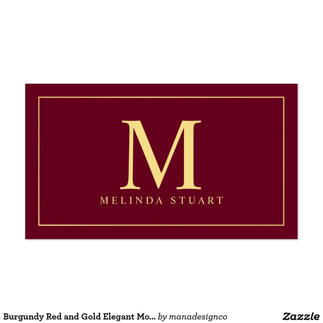 Burgundy Red And Gold Elegant Monogram Business Card Template Perfect For A Makeup Artist Design Name Card Design Gold Logo Design Examples Of Business Cards