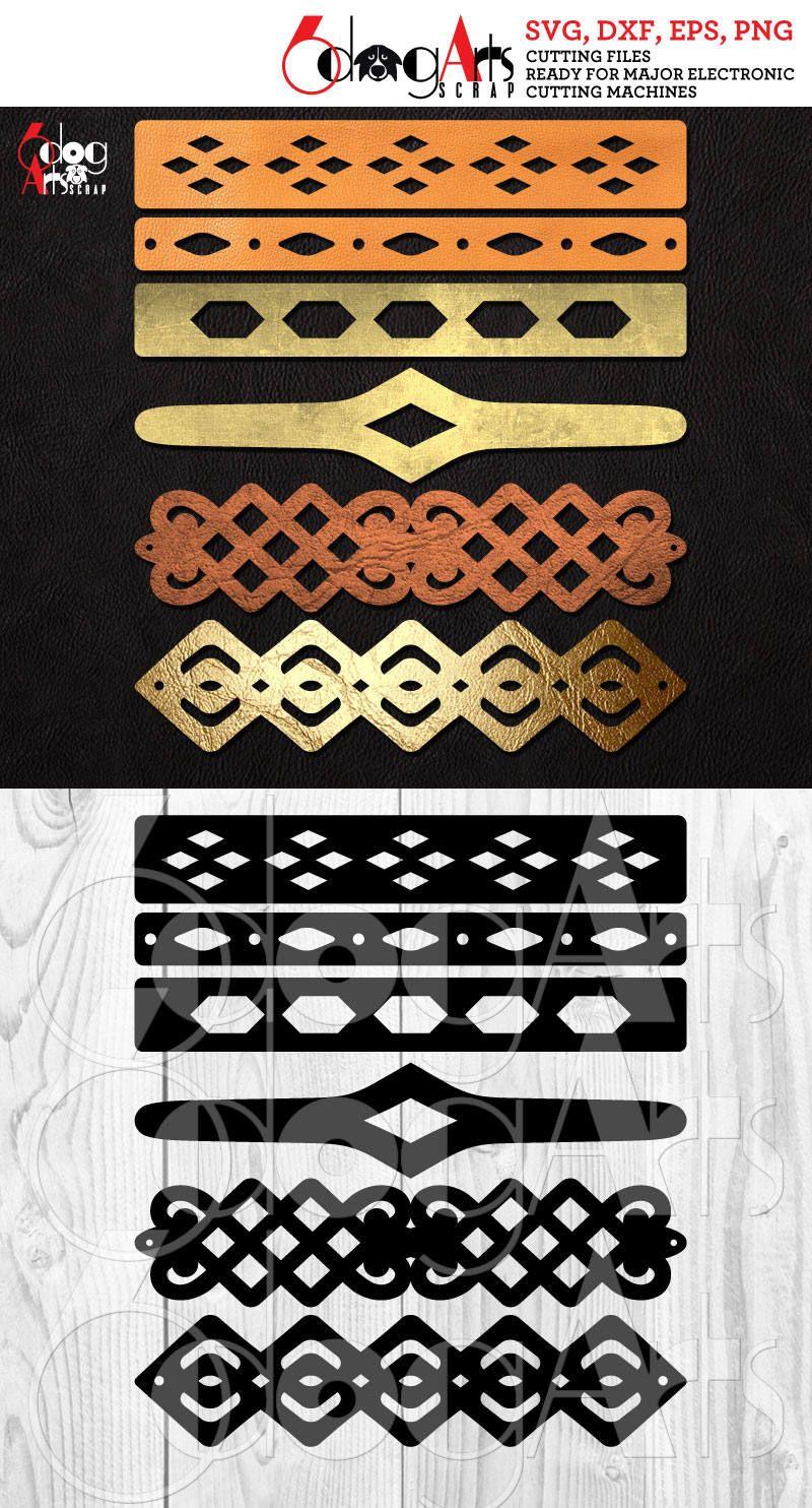 Photo of 6 Cuff Bracelet Leather Jewelry Templates Vector Digital SVG DXF Cut Files Cuttable Download Laser Cutting Cricut Maker JB-1043
