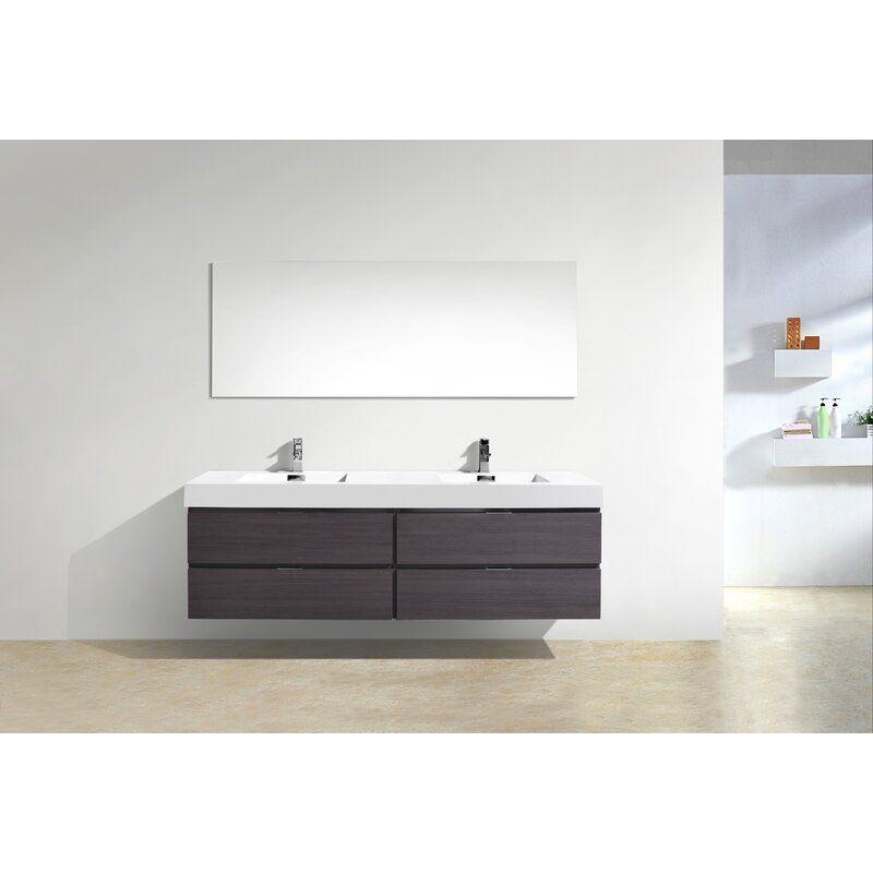 Wade Logan Tenafly 72 Wall Mount Double Bathroom Vanity Set Reviews Wayfair Modern Bathroom Vanity Bathroom Vanity 72 Inch Bathroom Vanity
