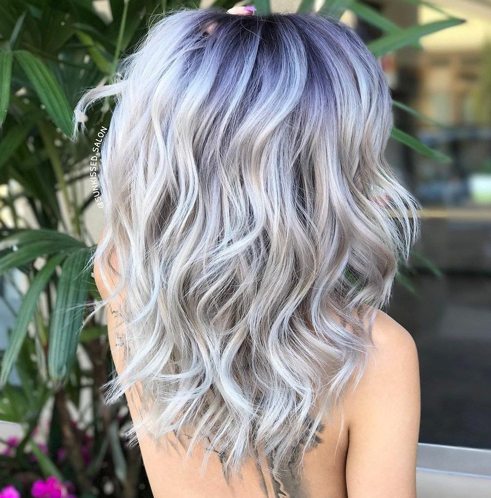 Long Silver Hair With Purple Blue Roots Thick Wavy Hair Blonde
