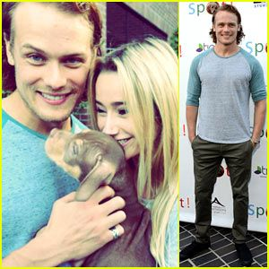 Outlander S Sam Heughan Cuddles Up To A Puppy At Saving Spot