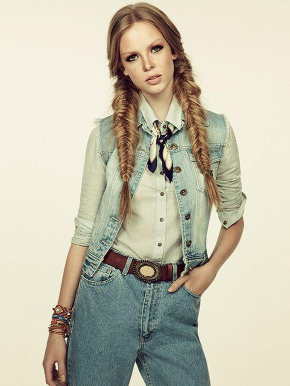 Hairstyle We Love Cowgirl Braids Cowgirl Hair Country Hairstyles Denim Fashion