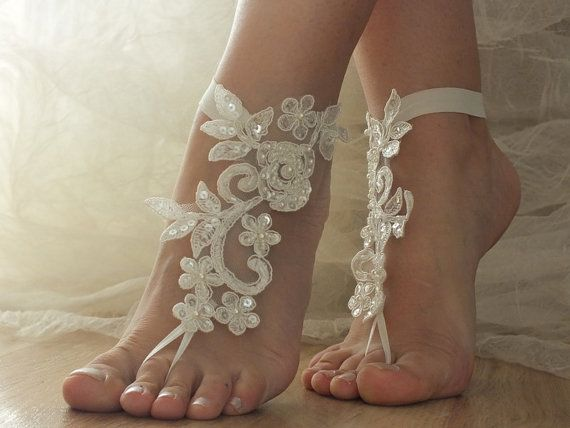 Free Ship Ivory Beach Wedding Barefoot Sandals Shoes Prom Party Bangle Anklets Bangles Bridal Bride Bridesmaid