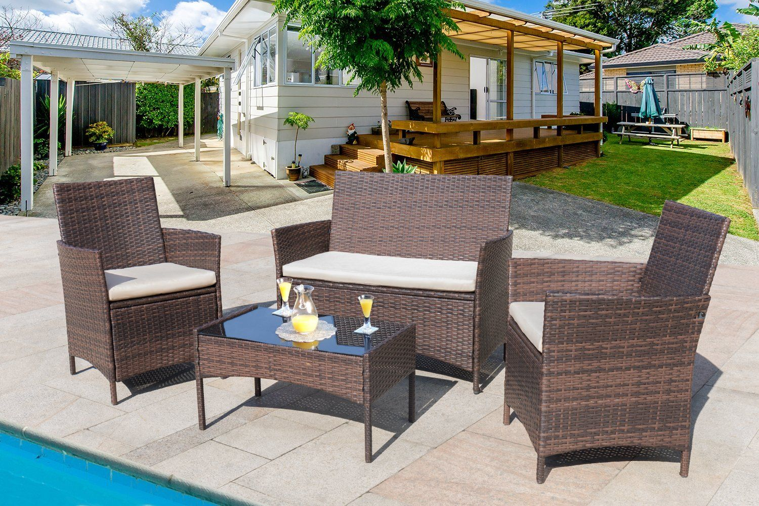Stupendous Amazon Com Homall 4 Pieces Outdoor Patio Furniture Sets Home Remodeling Inspirations Gresiscottssportslandcom