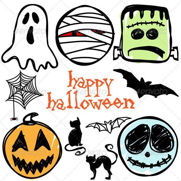 Halloween Icons Vector Illustration Set