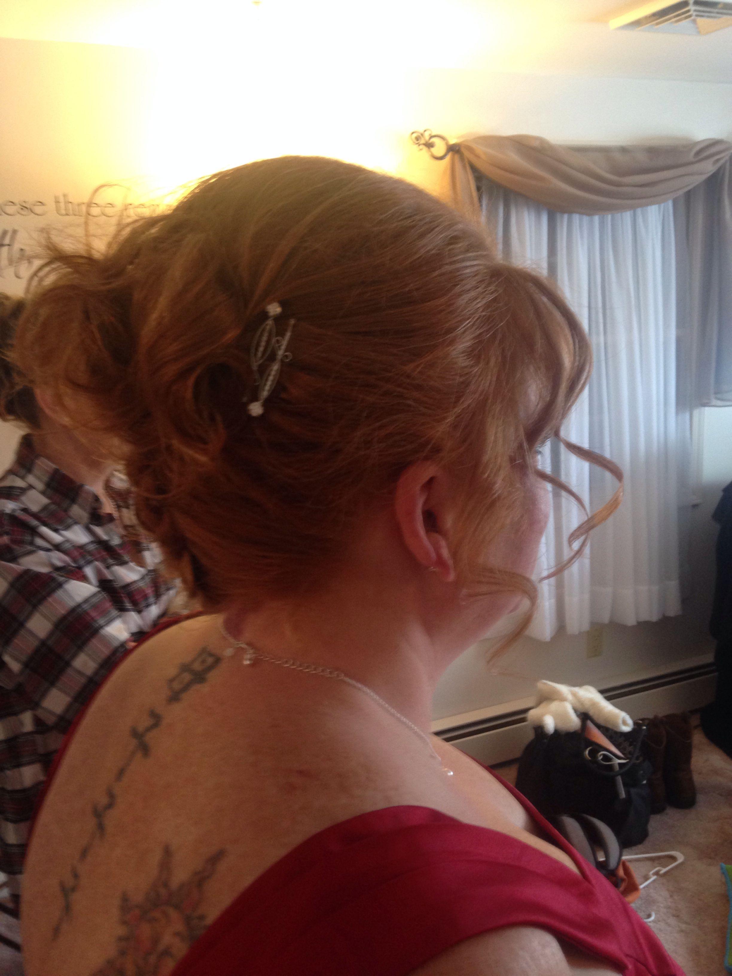Side upside down French braid curls bridesmaid Beauty