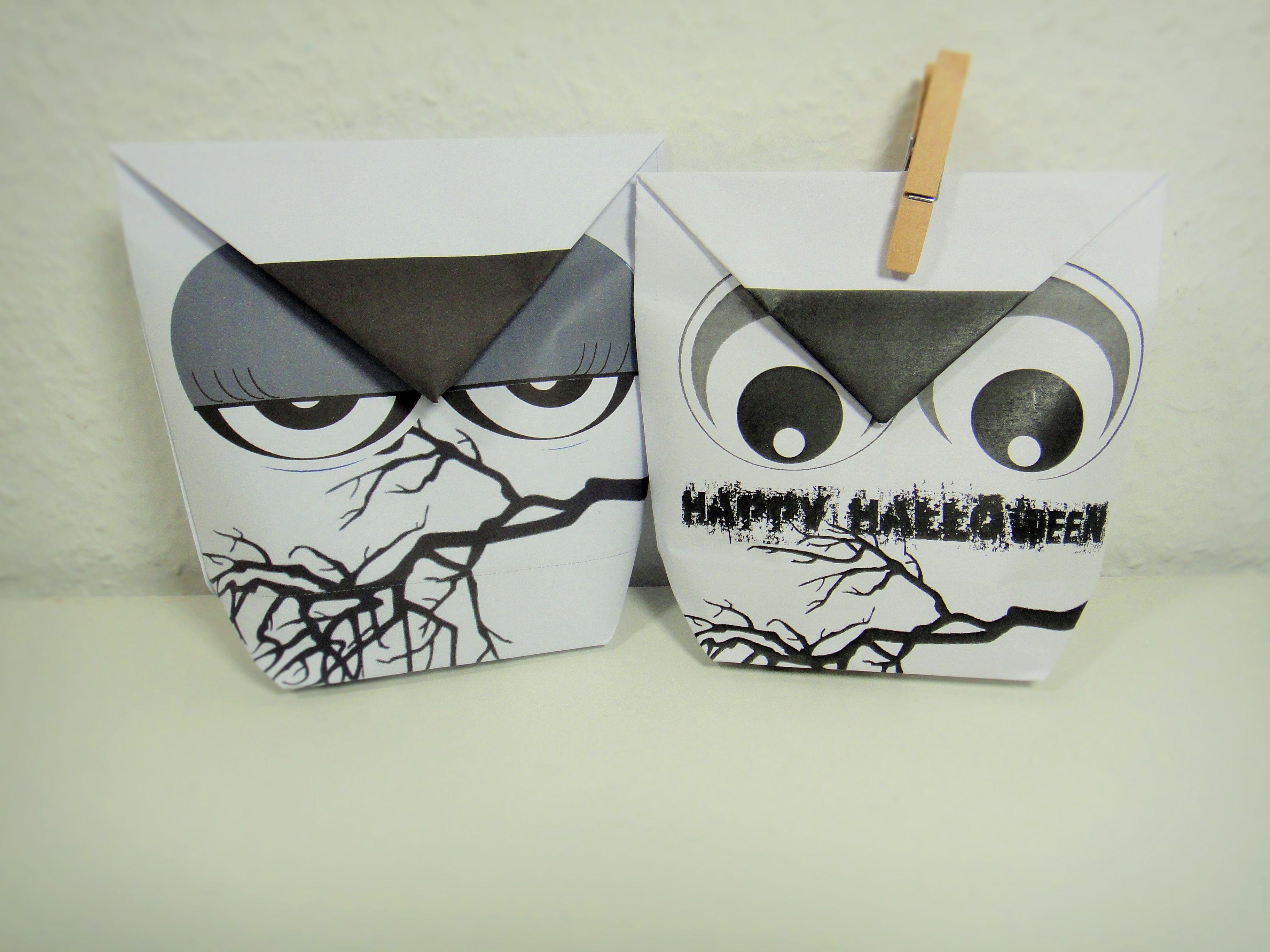 Halloween-Eulen-Tüten für Süßigkeiten als pdf-Vorlage hier ...