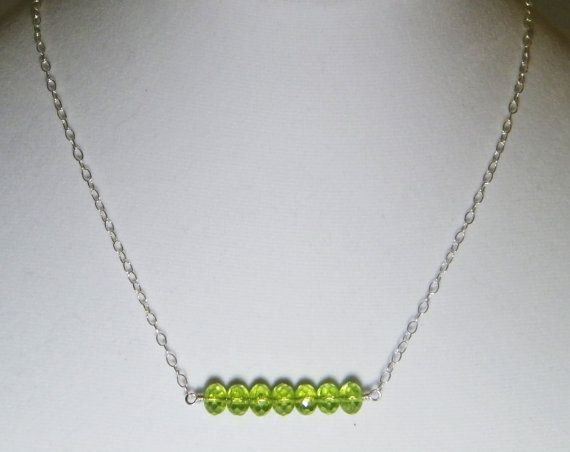 Green Peridot Beaded Bar Necklace Dainty by BellaJollieDesigns