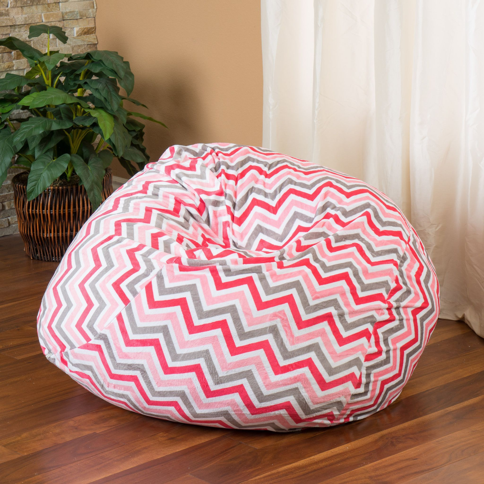 Ashley 3Ft Pink Charcoal Chevron Stripe Fabric Bean Bag Chair