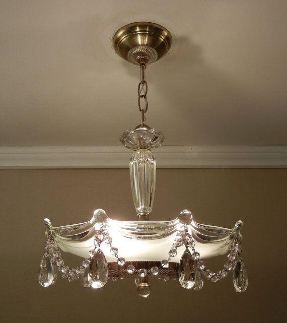 Vintage Chandelier Crystal Beaded Drape 1930's Antique Victorian Glass  Hanging Ceiling Light Fixture Rewired - Vintage Chandelier Crystal Beaded Drape 1930's Antique Victorian