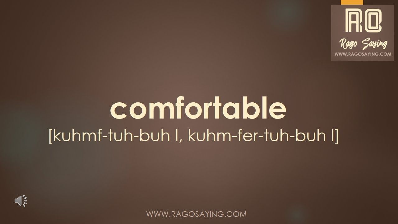 How to Pronounce comfortable  How to pronounce, English words, Words