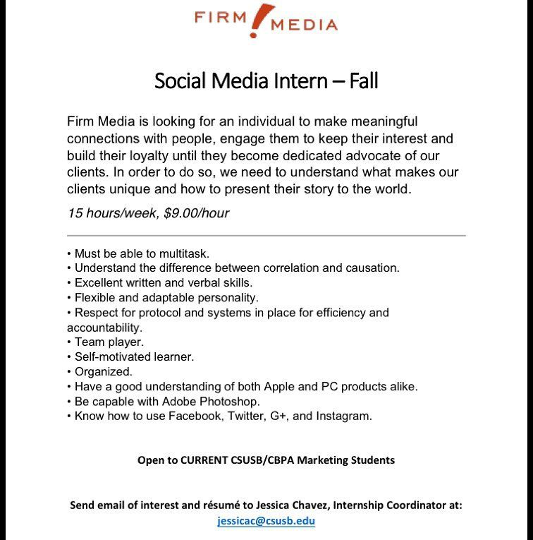 Attention Marketing students!!! Firm Media is looking for a - resume social media