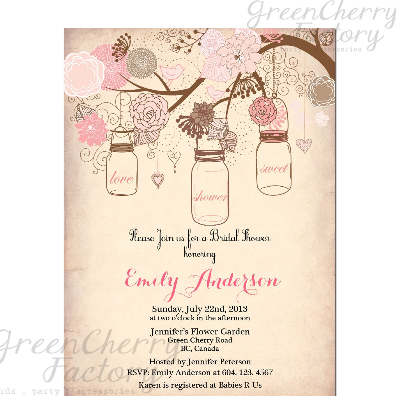 Mason Jar Invitation   Rustic Bridal Shower Invitation   Vintage Peach  Background   Tree Bird Baby  Bridal Shower Invitation Templates Download