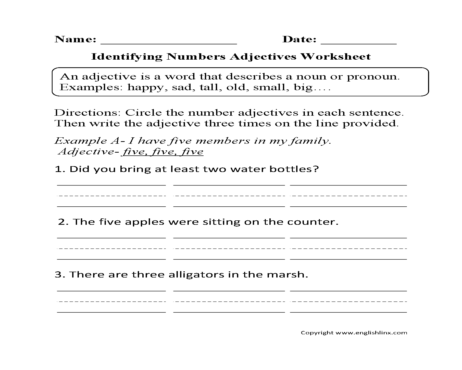 Identifying Numbers Adjectives Worksheet