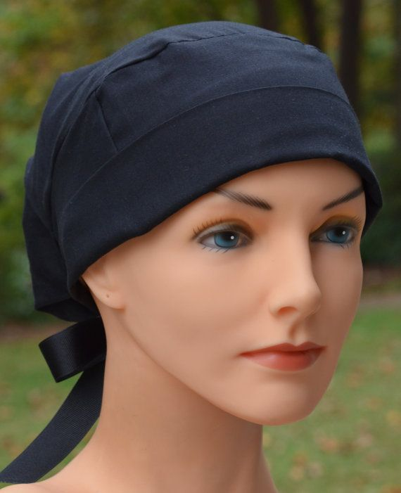 Large Womens Perfect Fit Tie Back with RIBBON by thehatcottage (Accessories, Hats & Caps, scrub hats, chefs hats, bakers hats, surgical hat, chemo cap, black, scrub hats for women, surgical scrub caps, womens surgical, the hat cottage, scrub caps, surgical scrub hats)