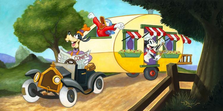 Mickey's Trailer | Disney fine art, Disney art, Disney artists
