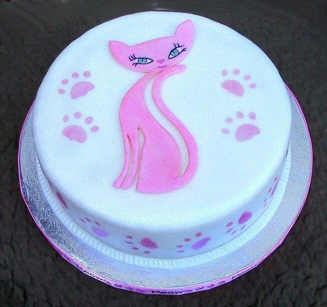 Pink cat cake Pinky Pinterest Cake Birthday cakes and