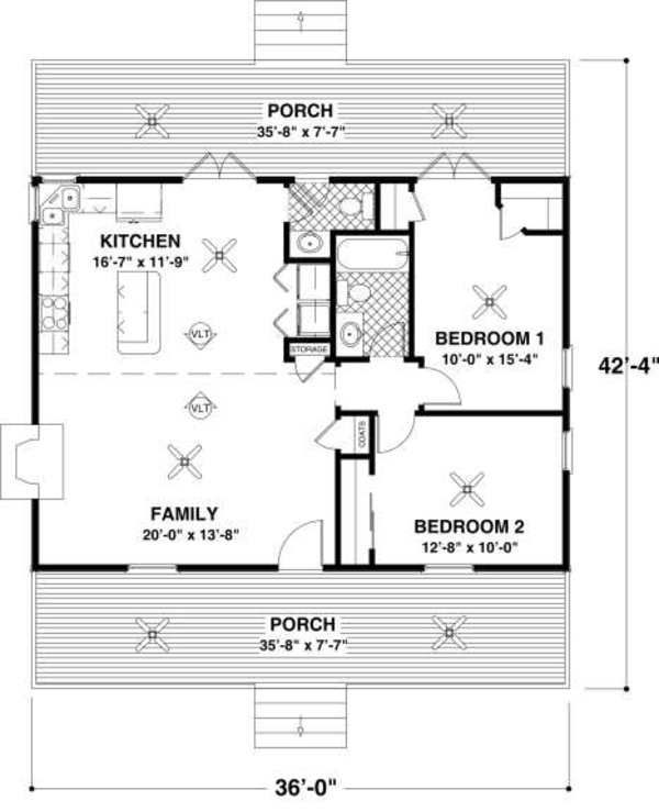 Cottage Style House Plan   2 Beds 1.5 Baths 954 Sq/Ft Plan #56