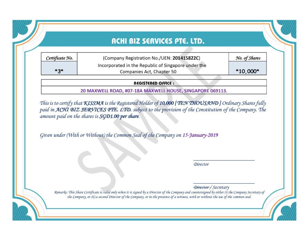 Share Certificate In Singapore Achibiz Inside Share Certificate Template Companies House Bes In 2020 Certificate Templates Business Template Professional Templates