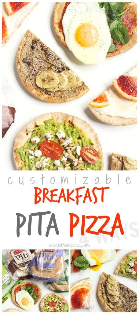 #ad With savory, sweet, salty and spicy flavors, there's something for everyone with this fun DIY Customizable Breakfast Pita Pizza bar, perfect to feed a crowd breakfast for dinner!  Vegetarian, Vegan options, Dairy free options, Egg free options, Nut free, Peanut free CitNutritionally.com