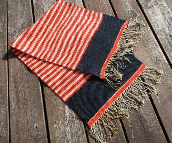 Wool Table Runner, Vintage Scandinavian Little Striped Handwoven Ethnic  Woolen Navajo Rug, Mid Century Mod Textile 32x9 In