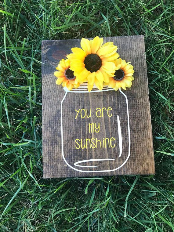 You are my sunshine wooden wall decor | hand painted sign | mason jar | sunflower decor | country rustic nursery baby decor | home decor #sunflowerbedroomideas