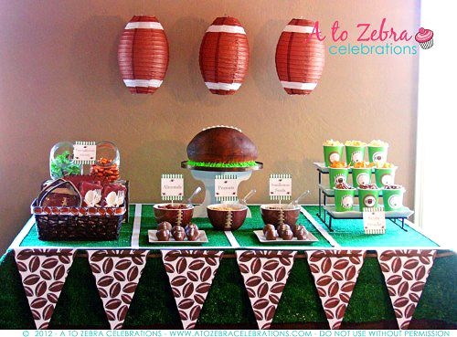 fantasy football party ideas by a to zebra celebrations via livinglocurtocom - Football Party Decorations