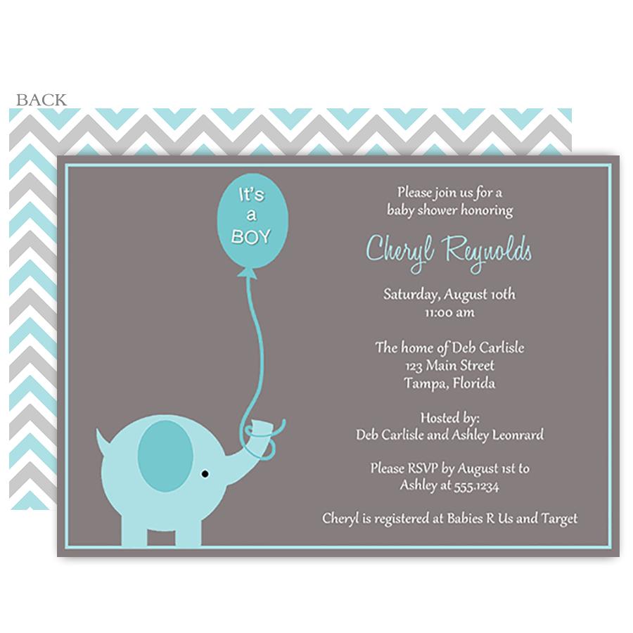 Elephant Balloon, Blue, Baby Shower Invitation | Elephant baby ...