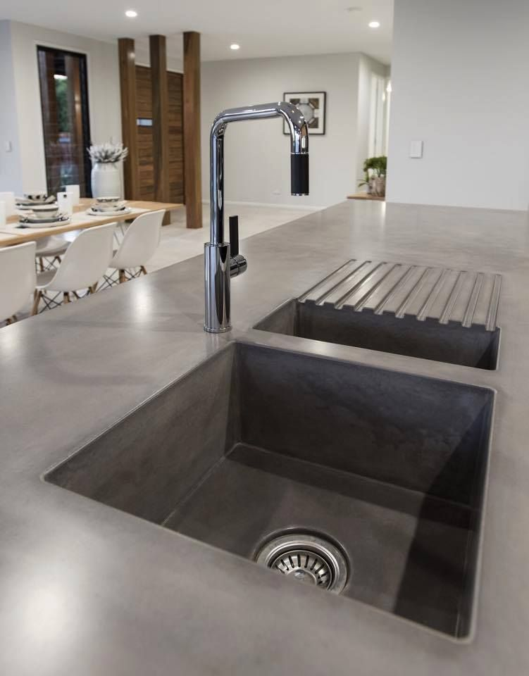 Cement Kitchen Sink Slicer Concrete With Drain Board Project X Pinterest