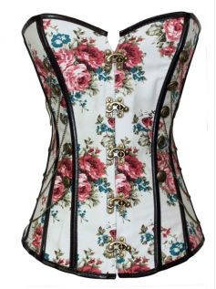 Floral Hasp Strapless Back String Big Size Corset For Women