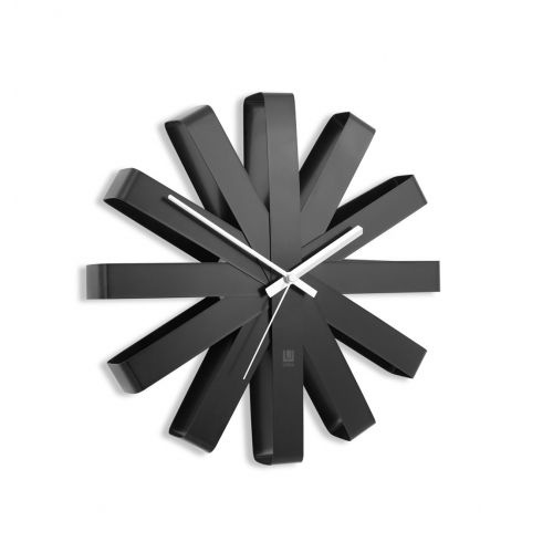 add a dramatic feature to your wall with the umbra ribbon wall clock black this modern sunburst clock is available to buy from red candy