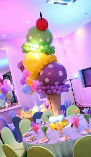 Ice Cream Cone Table Decoration Using Balloons Ice Cream