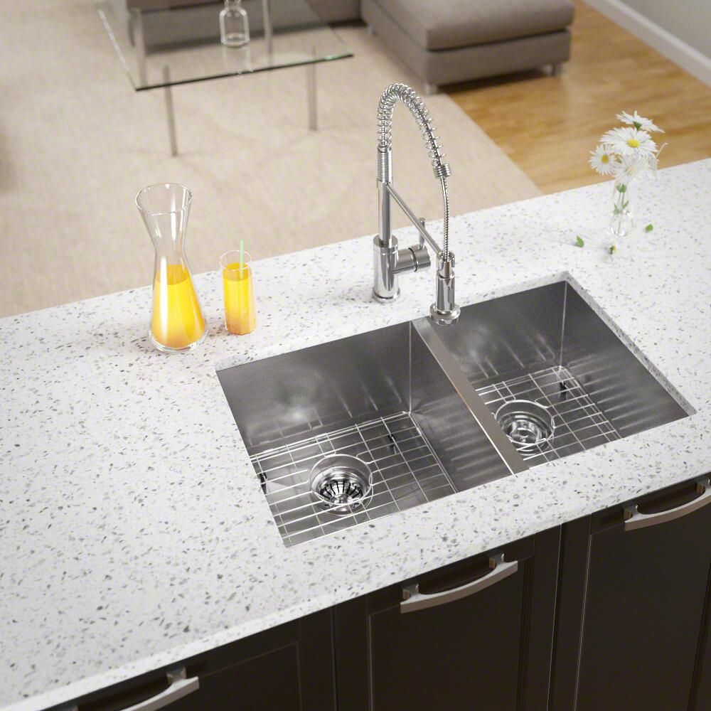 Mr Direct All In One Undermount Stainless Steel 32 In Left Double Bowl Kitchen Sink Brushed Satin Single Bowl Kitchen Sink Sink Double Bowl Kitchen Sink