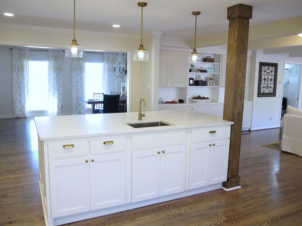 8x4 kitchen island with bar sink, stained wood column, quartz ...