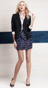 Work Blazer Skirt White Blouse Black Heels
