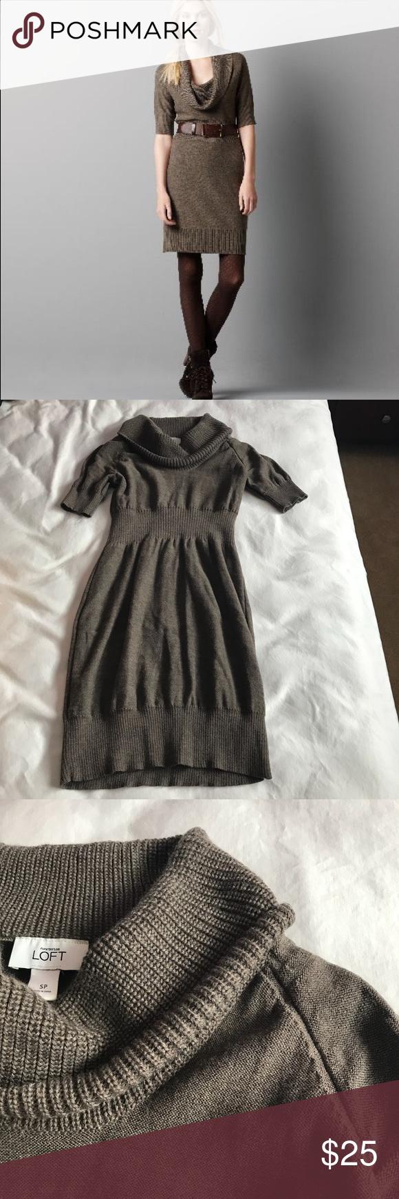 ab7e9378a8 Ann Taylor Loft crow neck cable sweater dress SP Super cute knit dress.  Size small petite. LOFT Dresses Midi