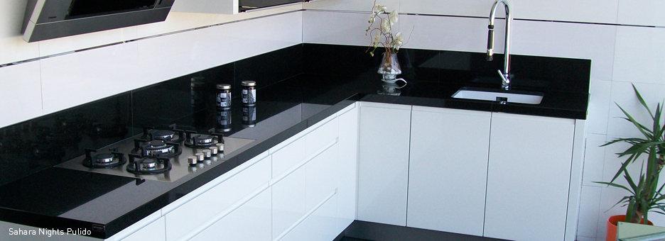 encimera de granito negro intenso de 2cm, propuesta para cocina ...