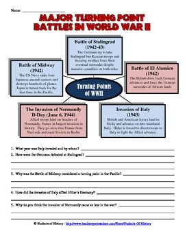 Worksheets World War 1 Worksheets world war ii turning point battles worksheet graphic organizers in great for helping students organize information and